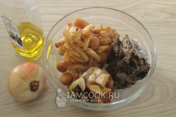 Ingredients for mushroom caviar from frozen mushrooms