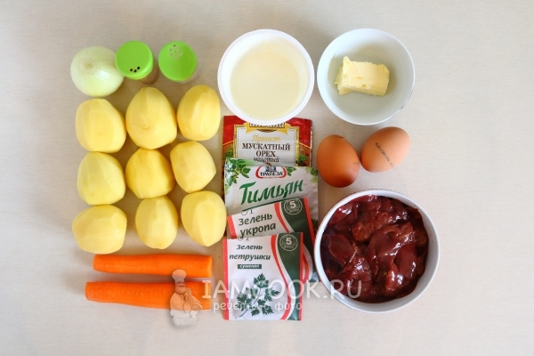 Ingredients for potato casserole with chicken liver