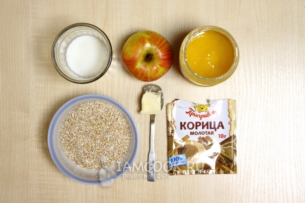 Ingredients for wheat porridge with apples