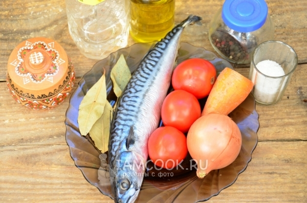 Ingredients for salad with mackerel for the winter