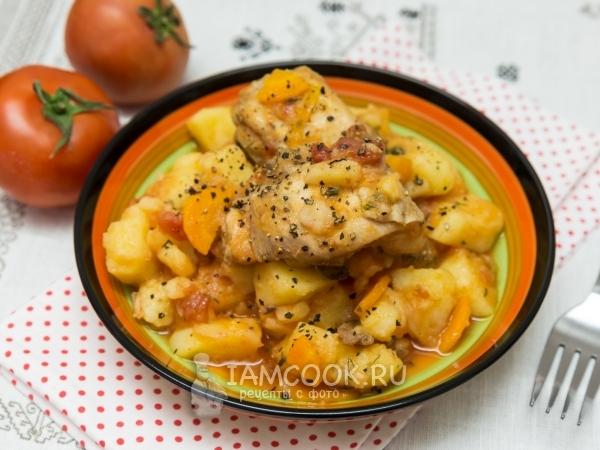 Kentang Rebus Dengan Ayam Dalam Kuali